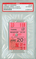 1959 Los Angeles Dodgers Ticket Stub vs Cincinnati Reds Don Drysdale Career Win #41 - June 20, 1957 [ExMt, punch cxl]