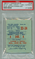 1963 New York Yankees Ticket Stub vs Boston Red Sox Roger Maris Career HR #208 (Game 2) Joe Pepitone Career HR #19 (Game 2)  Doubleheader Sweep - June 30, 1963