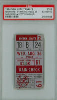 1964 New York Yankees Ticket Stub vs Washington Senators WP Buster Narum August 26, 1964