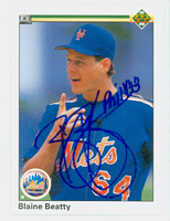 Blaine Beatty AUTOGRAPH 1990 Upper Deck Mets 