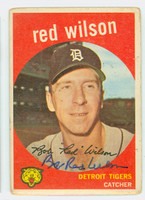 Red Wilson AUTOGRAPH d.14 1959 Topps #24 Tigers CARD IS F/G; CORNER WEAR