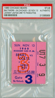 1960 Chicago Bears Ticket Stub vs Baltimore Colts Johnny Unitas 266 YD Pass, 2 TD - Colts 24-20  November 13, 1960 PSA/DNA Authentic