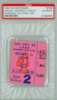 1960 Chicago Bears Ticket Stub vs Detroit Lions William Dewveall 163 Yd Rec, 2 TD - Bears 28-7  November 20, 1960 PSA/DNA Authentic