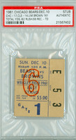 1961 Chicago Bears Ticket Stub vs Cleveland Browns Jim Brown 161 Total Yds, TD - Bears 17-14  December 10, 1961 PSA/DNA Authentic