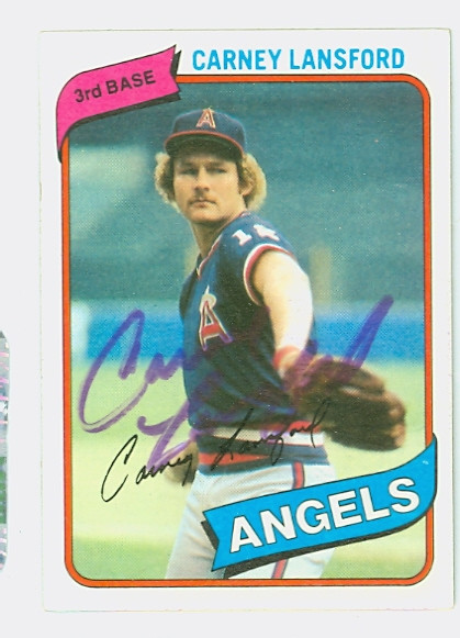 Carney Lansford Autograph 1980 Topps 337 Angels Skulansc6745t80bb