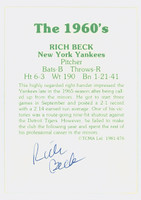 Rich Beck AUTOGRAPH 1978 TCMA The Sixties Back Signed Yankees   [SKU:BeckR7582_TCMA60BSND]
