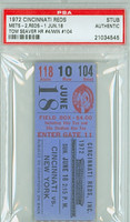 1972 Cincinnati Reds Ticket Stub vs New York Mets Tom Seaver Career Win #104 - June 18, 1972 PSA/DNA Authentic