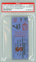 1974 Cincinnati Reds Ticket Stub vs Atlanta Braves Kuhn Rules Aaron Must Play Phil Niekro W #111  - April 7, 1974 PSA/DNA Authentic