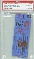 1976 Cincinnati Reds Ticket Stub vs Montreal Expos Pete Rose Career HR #125 Gary Carter Career HR #20  - May 2, 1976 PSA/DNA Authentic