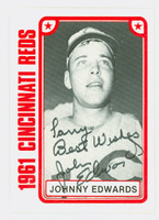 Johnny Edwards AUTOGRAPH TCMA 1961 Reds 