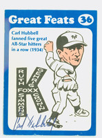 Carl Hubbell AUTOGRAPH d.88 1972 Laughlin Great Feats Giants 