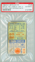 1963 New York Mets Ticket Stub vs Los Angeles Dodgers Don Drysdale Career Win #120 Dodgers Doubleheader Sweep  - August 18, 1963 PSA/DNA Authentic
