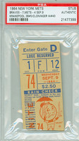 1964 New York Mets Ticket Stub vs Milwaukee Braves Tony Cloninger Career Win #40 - September 9, 1964 [Y64_Mets0909S_pa_99] PSA/DNA Authentic