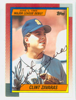 Clint Zavaras AUTOGRAPH 1990 Topps Mariners Major League Debut 