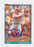 Rod Booker AUTOGRAPH 1991 Topps Phillies 