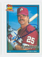 Steve Lake AUTOGRAPH 1991 Topps Phillies 