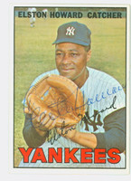 Elston Howard AUTOGRAPH d.80 1967 Topps Yankees CARD IS EX/EX+, CLEAN!