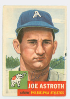 Joe Astroth AUTOGRAPH d.15 1953 Topps #103 Athletics CARD IS VG, BORDER BLEMISH, O/W EX+