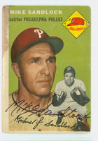 Mike Sandlock AUTOGRAPH d.16 1954 Topps #104 Phillies CARD IS F-P, STAINING FRONT AND REV, SIG IS CLEAN  [SKU:SandM354_T54BBHC]
