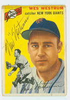 Wes Westrum AUTOGRAPH d.02 1954 Topps #180 Giants CARD IS F-G, HORIZ CREASE, BORDER STAIN, SIG IS CLEAN  [SKU:WestW1493_T54BBHC]