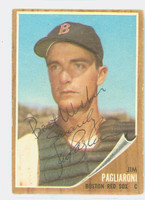 Jim Pagliaroni AUTOGRAPH d.10 1962 Topps #81 Red Sox CARD IS EX; SALUT