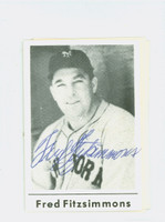 Fred Fitzsimmons AUTOGRAPH d.79 Blank Back Giants 