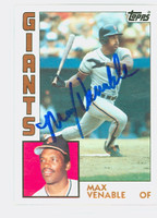 Max Venable AUTOGRAPH 1984 Topps #58 Giants 