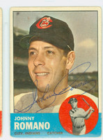 Johnny Romano AUTOGRAPH 1963 Topps #72 Indians CARD IS G/VG