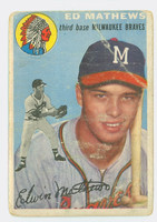 1954 Topps Baseball 30 Ed Mathews Atlanta Braves Poor