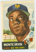 Monte Irvin AUTOGRAPH 1953 Topps #62 Giants CARD IS G/VG; CRN WEAR