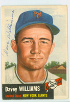 Davey Williams AUTOGRAPH d.09 1953 Topps #120 SINGLE PRINT Giants CARD IS VG