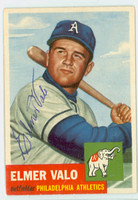 Elmer Valo AUTOGRAPH d.98 1953 Topps #122 SINGLE PRINT Athletics CARD IS SHARP EX