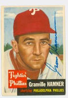 Granny Hamner AUTOGRAPH d.93 1953 Topps #146 SINGLE PRINT Phillies CARD IS SHARP EX