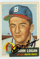 Johnny Logan AUTOGRAPH d.13 1953 Topps #158 SINGLE PRINT Braves CARD IS F/G; SL BENDS, AUTO CLEAN