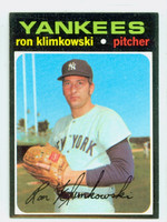 1971 Topps Baseball 28 Ron Klimkowski New York Yankees Near-Mint