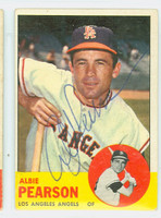 Albie Pearson AUTOGRAPH 1963 Topps #182 Angels CARD IS G/VG; CRN-EDGE WEAR