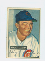 Virgil Stallcup AUTOGRAPH d.89 1951 Bowman #108 Reds CARD IS VG; CRN WEAR