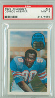 1970 Kellogg Football 43 George Webster Houston Oilers PSA 9 Mint