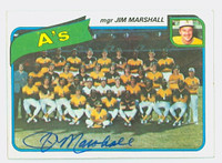 Jim Marshall AUTOGRAPH 1980 Topps A's Team #96 Athletics 