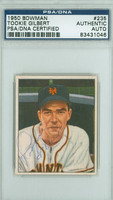 Harold Gilbert AUTOGRAPH d.67 1950 Bowman #235 Giants PSA/DNA CARD IS CLEAN EX
