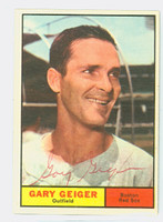 Gary Geiger AUTOGRAPH d.96 1961 Topps #33 Red Sox CARD IS G/VG; SCRATCHES