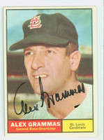 Alex Grammas AUTOGRAPH 1961 Topps #64 Cardinals CARD IS G/VG; LT CREASES