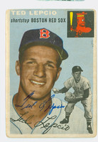 Ted Lepcio AUTOGRAPH 1954 Topps #66 Red Sox CARD IS F/P; CREASES