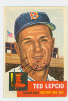 Ted Lepcio AUTOGRAPH 1953 Topps #18 Red Sox CARD IF F/G; VERT CREASE