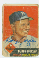 Bobby Morgan AUTOGRAPH 1953 Topps #85 Dodgers CARD IS VERY POOR