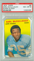 1970 Glossy Football 8 Earl McCullouch Detroit Lions PSA 8 Near Mint to Mint