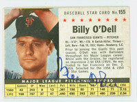Billy O' Dell AUTOGRAPH d.18 1961 Post #155 Giants BOX CARD IS G/VG