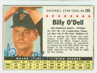 Billy O' Dell AUTOGRAPH d.18 1961 Post #155 Giants BOX CARD IS VG