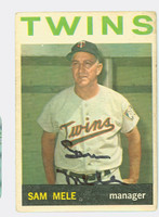 Sam Mele AUTOGRAPH 1964 Topps #54 Twins CARD IS F/G