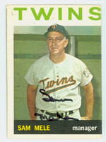 Sam Mele AUTOGRAPH D.171964 Topps #54 Twins CARD IS G/VG